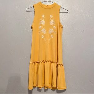 Yellow and White Embroidered Dress XXS
